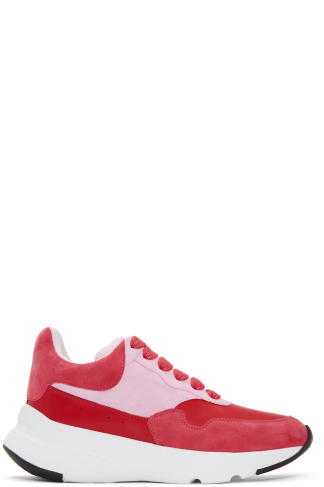 Pink and Red Runner Sneakers Alexander McQueen