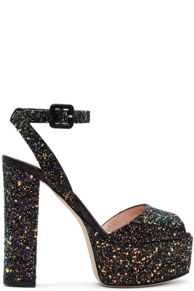 cb4d59c2e7a84 Giuseppe Zanotti SSENSE Exclusive Black Glitter Lavinia Platform Sandals