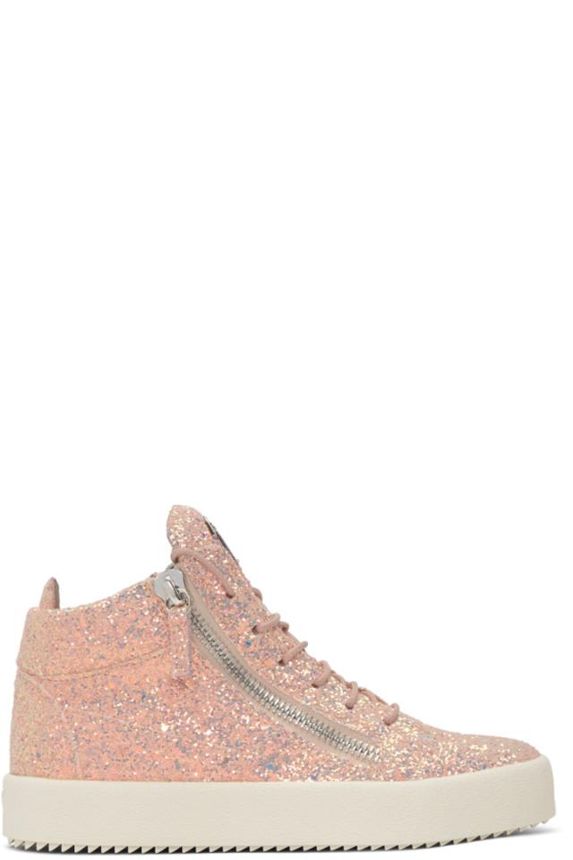 2b68feca64f25 Giuseppe Zanotti SSENSE Exclusive Pink Glitter May London High-Top Sneakers
