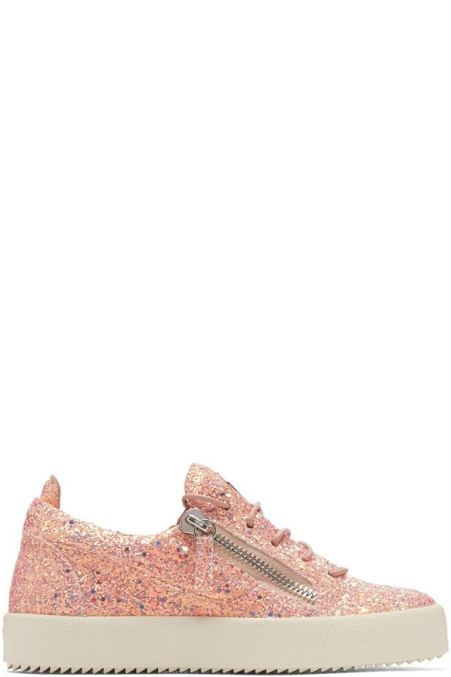 3fcaa785ea87c Giuseppe Zanotti Pink Glitter May London Sneakers from SSENSE - Styhunt
