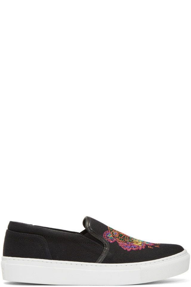 Bottega Veneta Black Limited Edition Holiday Tiger K-Skate Slip-On Sneakers