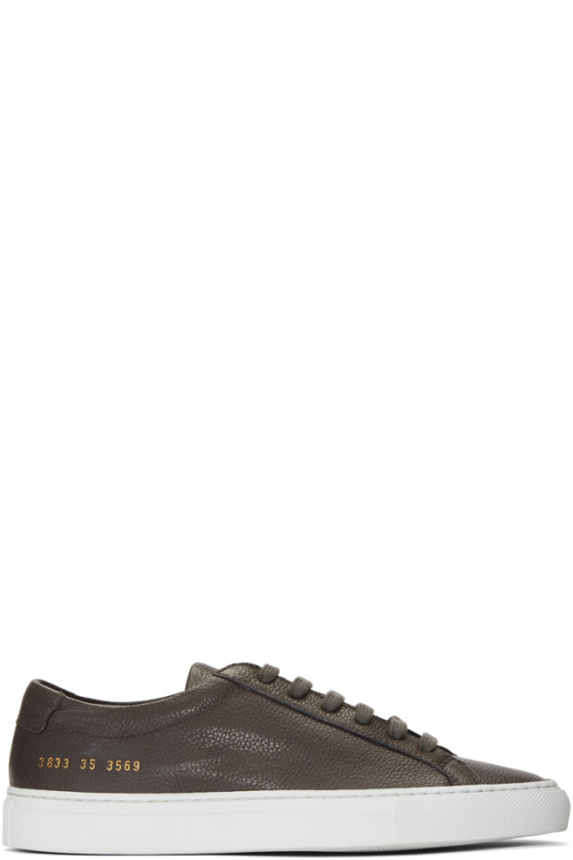 Woman by Common Projects Grey Suede Original Achilles Low Sneakers