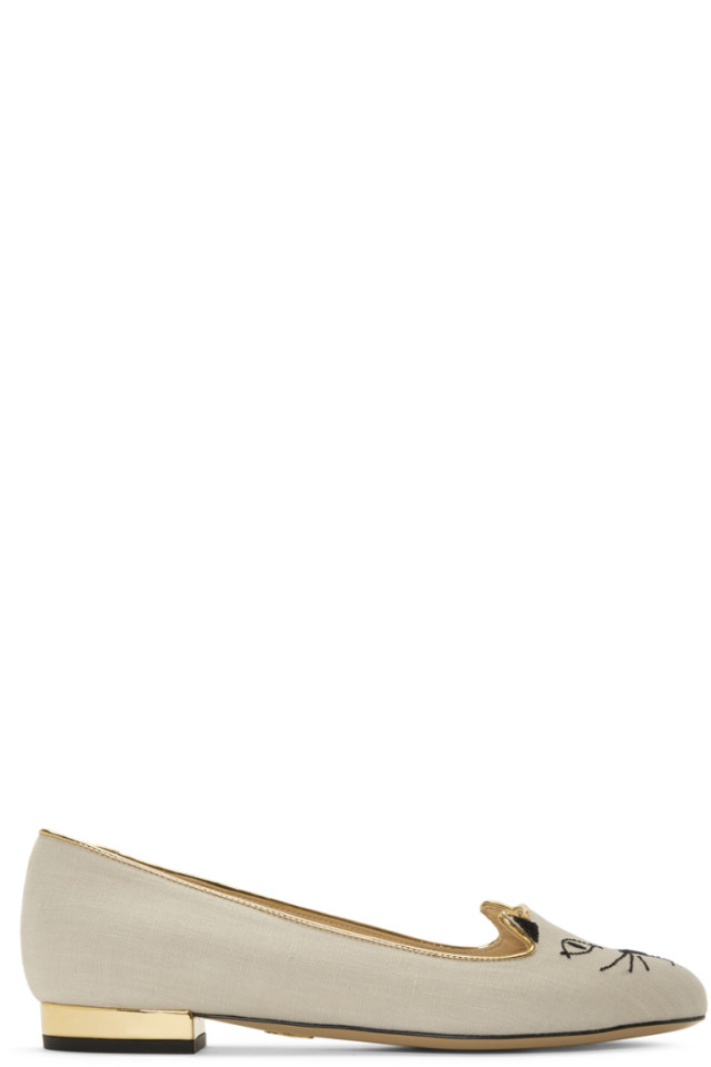 Charlotte Olympia Off- Linen Kitty Slippers