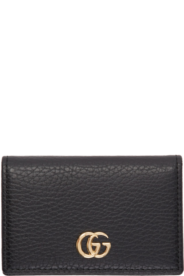 new concept e3929 6f83e Gucci Black Petite GG Marmont Bifold Card Holder from SSENSE - Styhunt