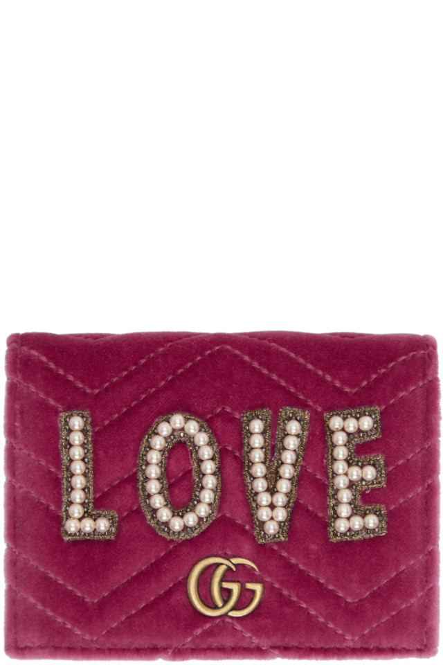 36a2edd44 Gucci Pink Velvet Small Love GG Marmont Wallet from SSENSE - Styhunt