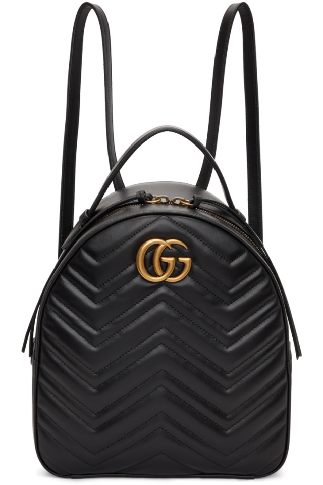 53f0b6a8bb46ef Gucci Black GG Marmont Quilted Chevron Backpack from SSENSE - Styhunt