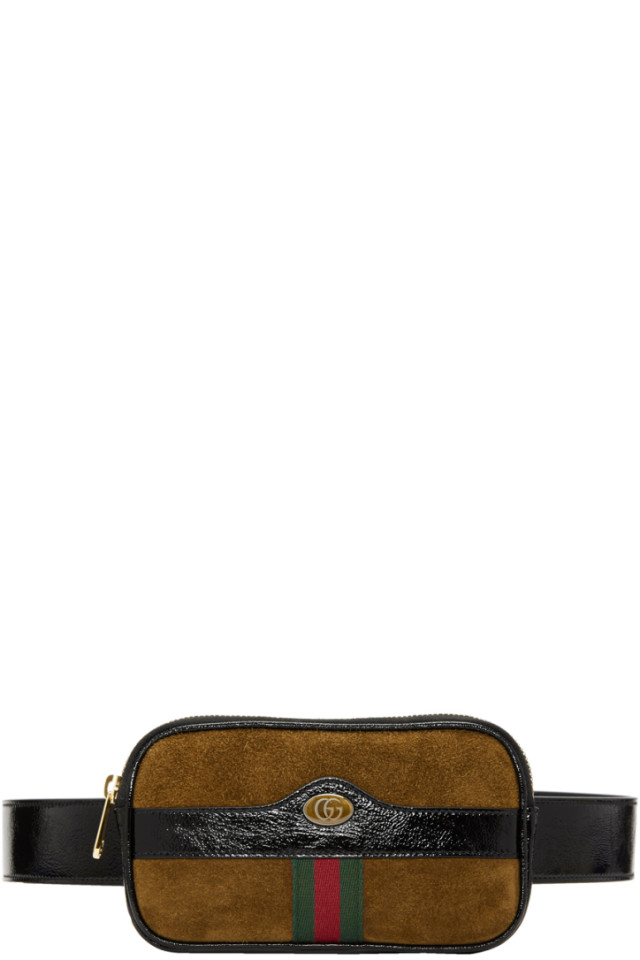 01ac1f2bf69 Gucci Brown Small Suede Ophidia Belt Bag from SSENSE - Styhunt