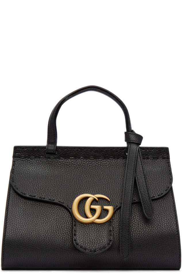 90bfa18def07 Gucci Black Mini GG Marmont Top Handle Bag from SSENSE - Styhunt