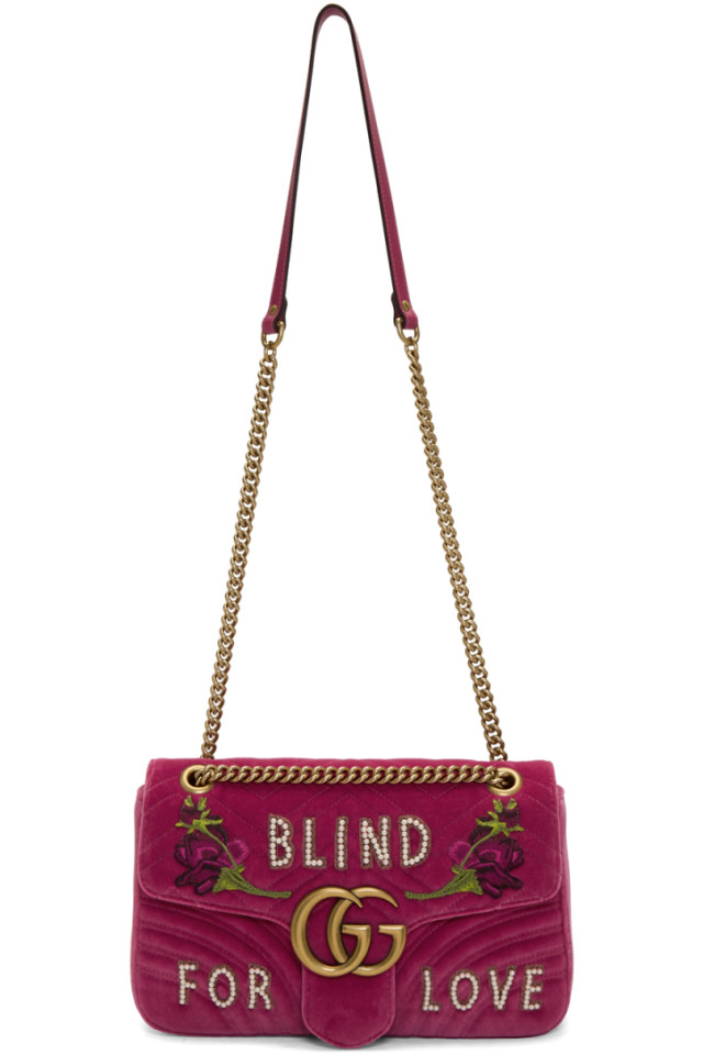 8d9816f223e6 Gucci Pink Medium GG Marmont 2.0 Blind For Love Bag from SSENSE ...