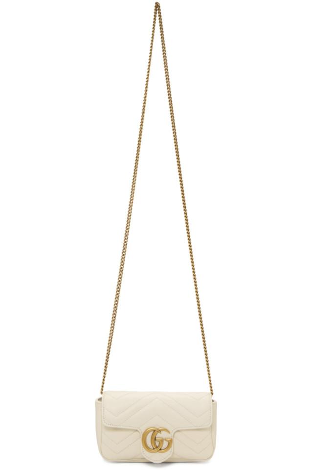 fcece122037 Gucci White Super Mini GG Marmont Bag from SSENSE - Styhunt
