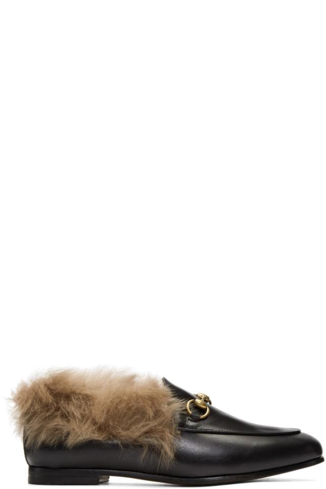 bc261aa7b Gucci Black Jordaan Fur Slippers from SSENSE - Styhunt