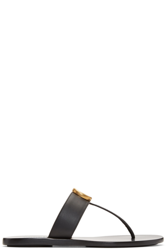 ca3cefff9 Gucci Black GG Marmont Sandals from SSENSE - Styhunt