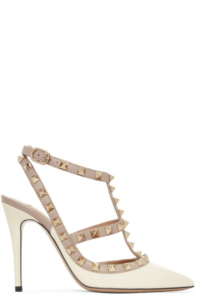 Valentino Off-White Valentino Garavani Patent Rockstud Cage Heels