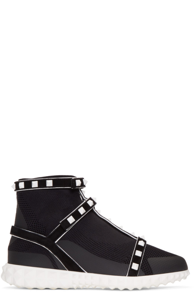 ValentinoGaravani Studded Knit Sock High-Top Sneakers
