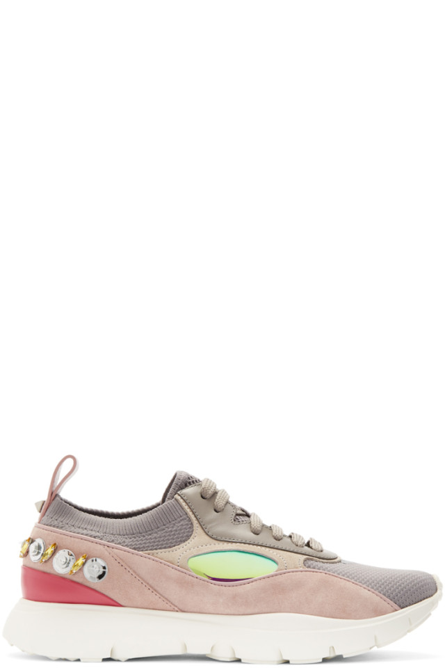 Bottega Veneta Grey Valentino Garavani Embroidered Heroes Sneakers