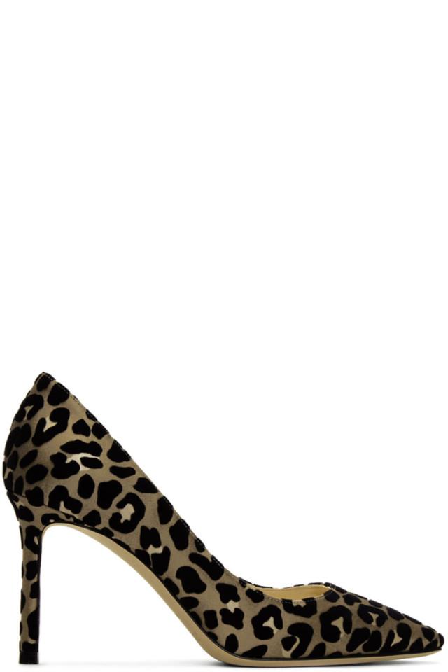 c1d68c1fdf6 Jimmy Choo Tan   Black Flocked Leopard Romi Heels