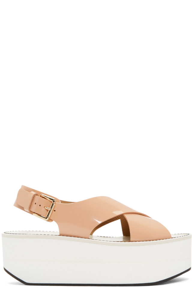 Flamingos Pink Patent Virginia Platform Sandals