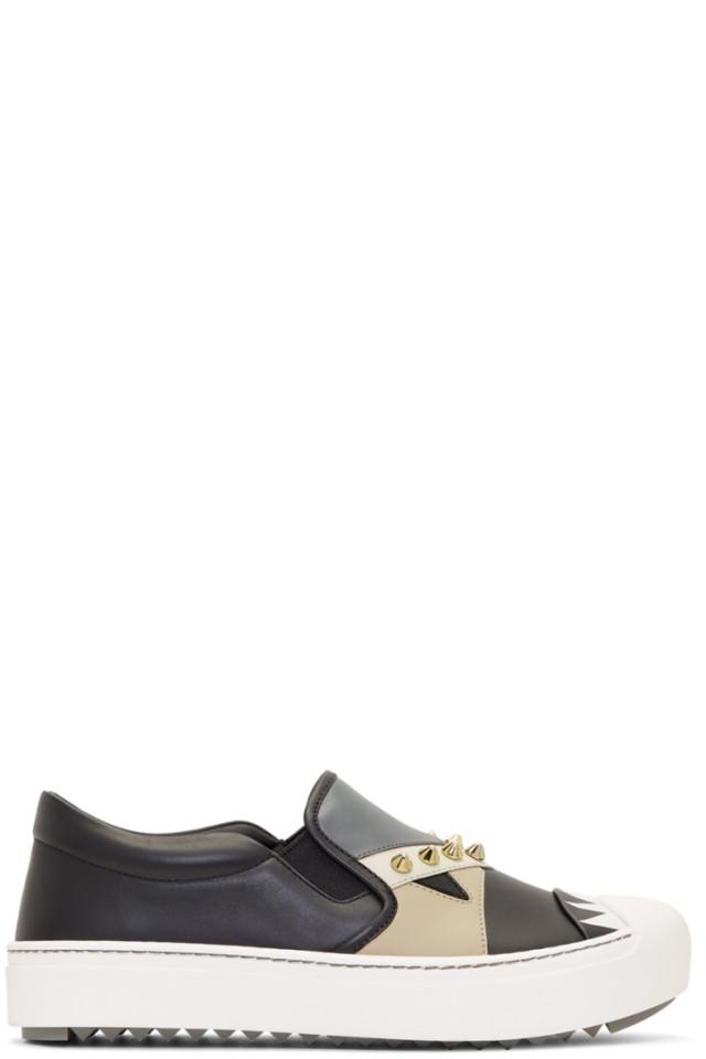 b21bcded Fendi Black Bag Bugs Slip-On Sneakers from SSENSE - Styhunt
