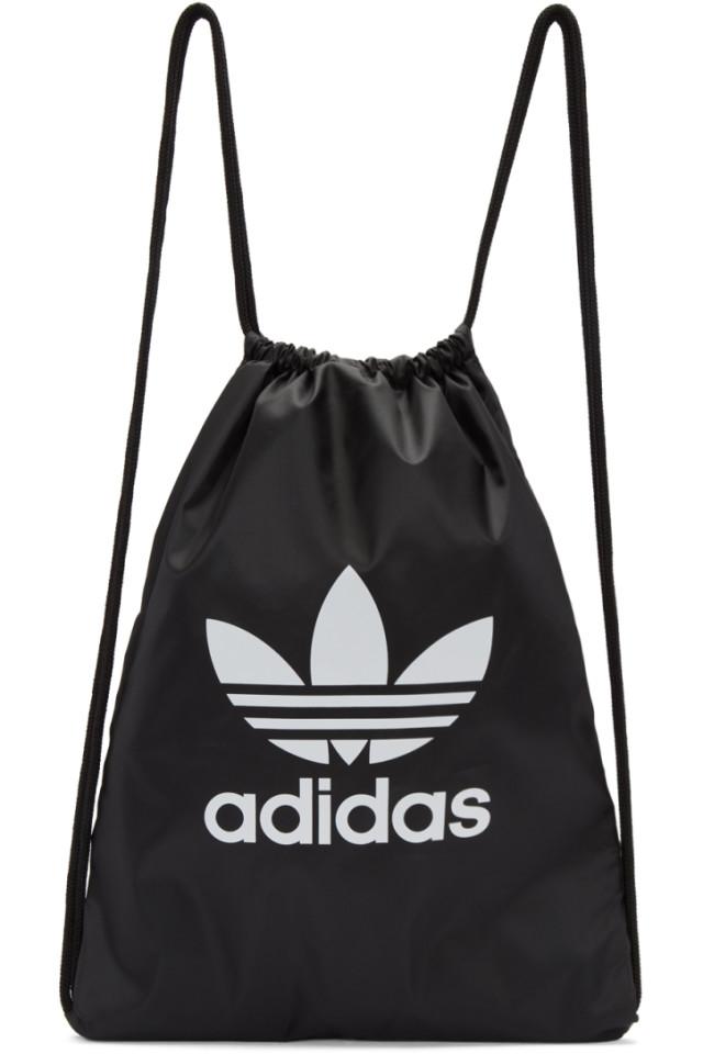 6a51bbb4ec adidas Originals Black Trefoil Gym Backpack from SSENSE - Styhunt