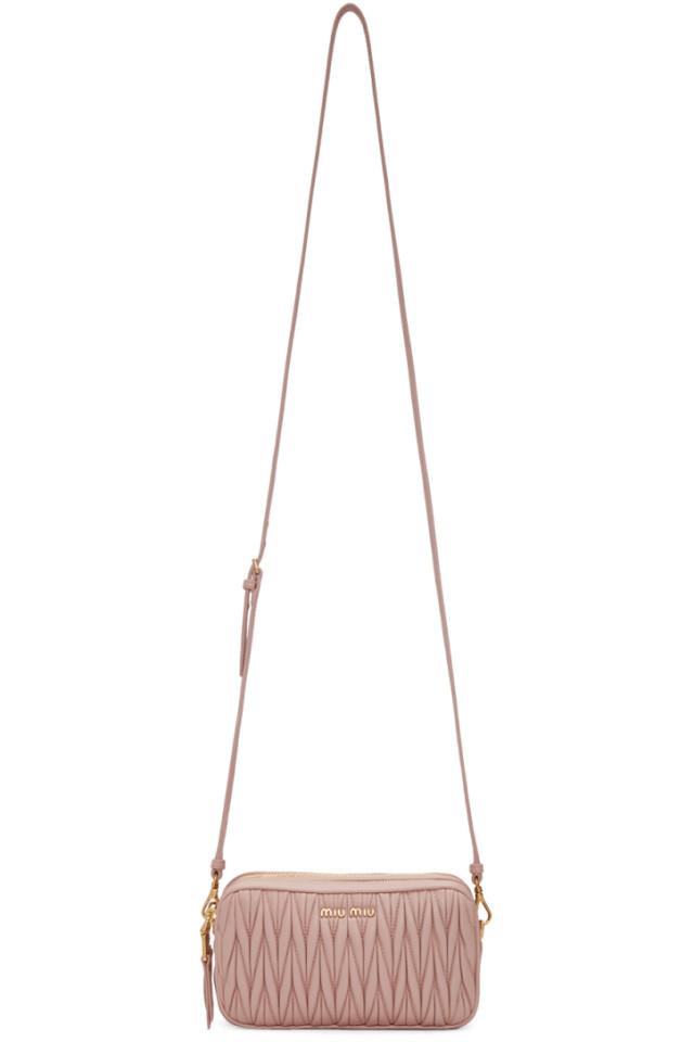 3cdcfcd4cae Miu Miu Pink Double Zip Matelasse Crossbody Bag from SSENSE - Styhunt