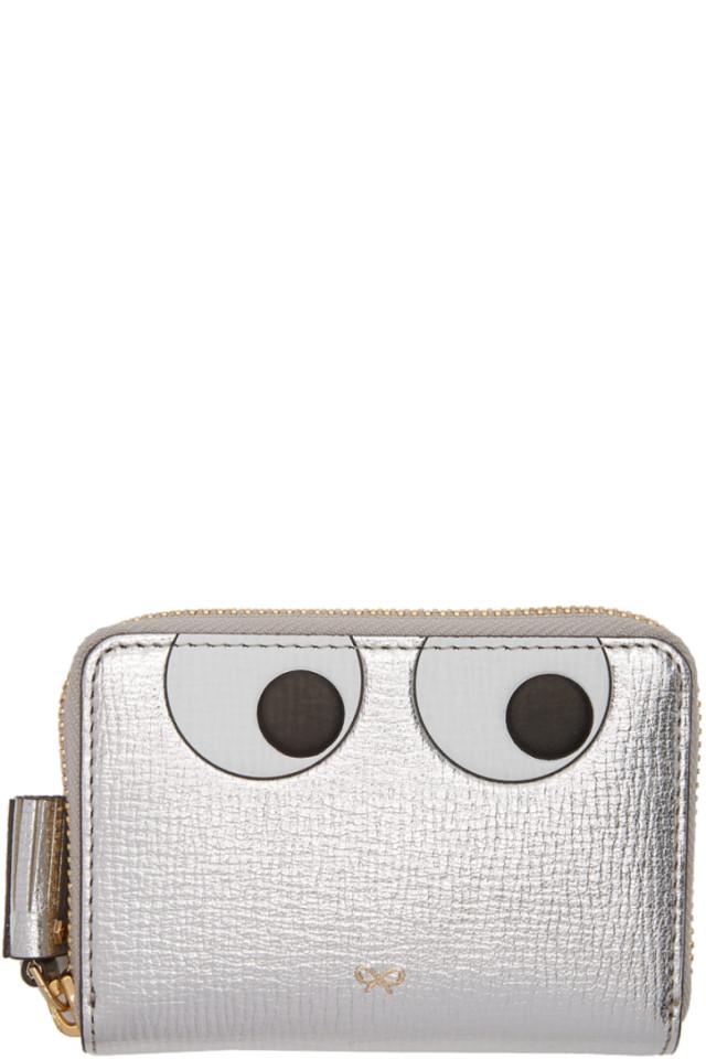 Silver Small Eyes Zip Around Wallet Anya Hindmarch