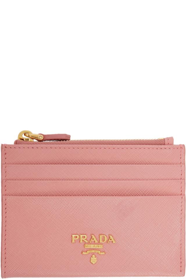 84f6ddba Prada Pink Saffiano Zip Card Holder from SSENSE - Styhunt