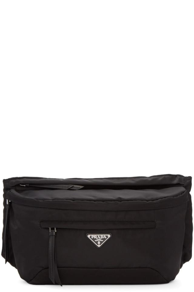 63b66f9770666f Prada Black Studded Strap Belt Pouch from SSENSE - Styhunt