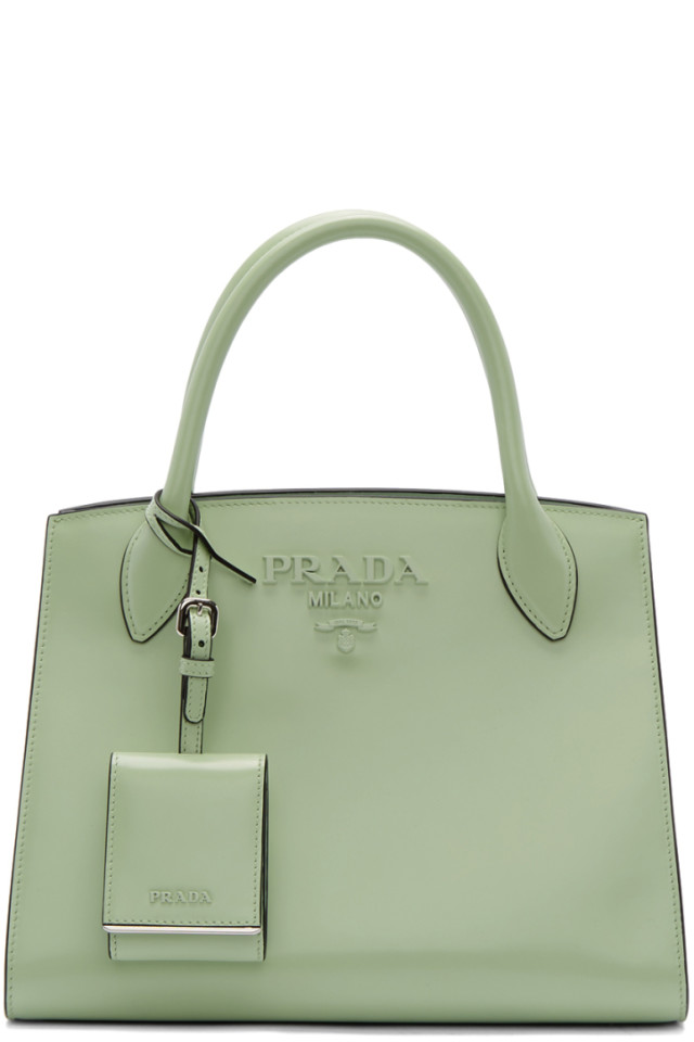 8882659010c3 Prada Green Small Tonal Logo Paradigm Tote