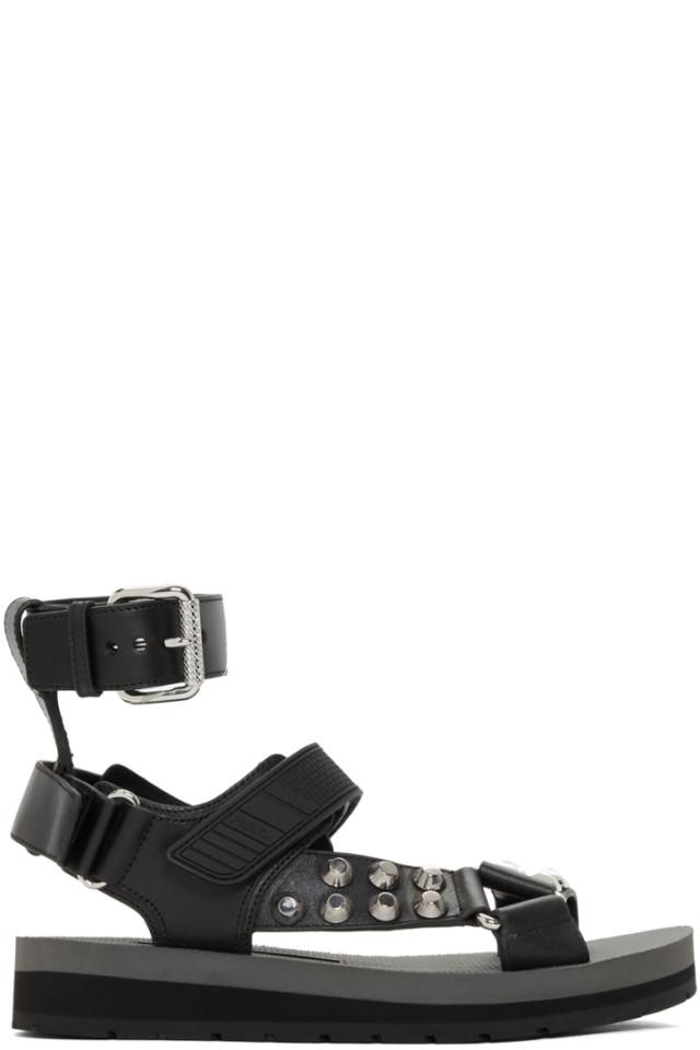 543efc1bd7e506 Prada Black Studded Velcro Sandals from SSENSE - Styhunt
