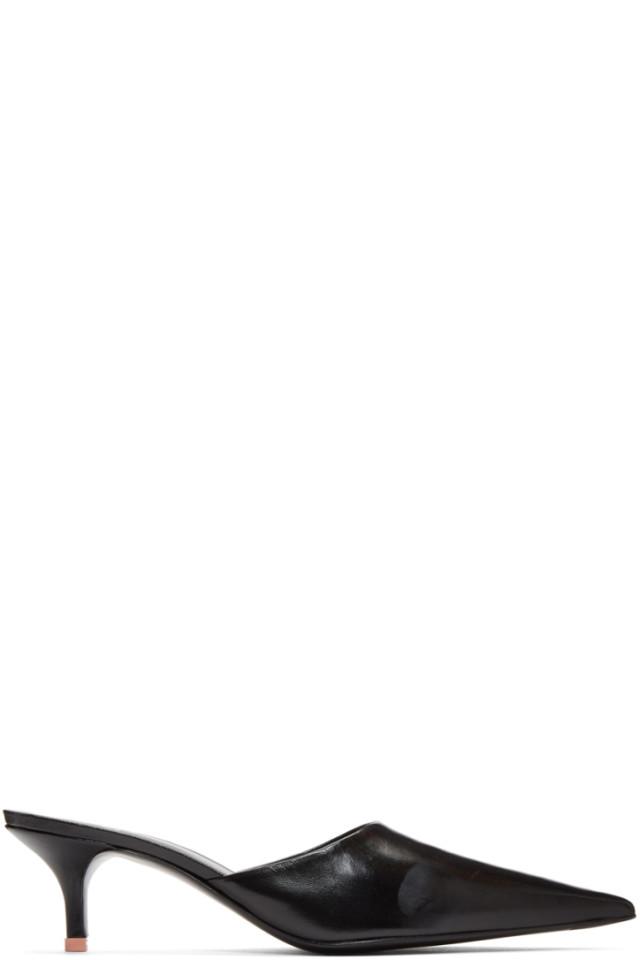 8b69a8d3d Acne Studios Black Offset Kitten Heel Mules from SSENSE - Styhunt