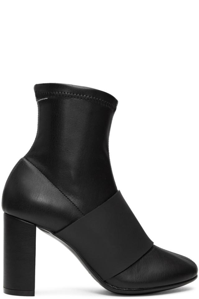 Maison Margiela Black Cut Heel Banded Boots