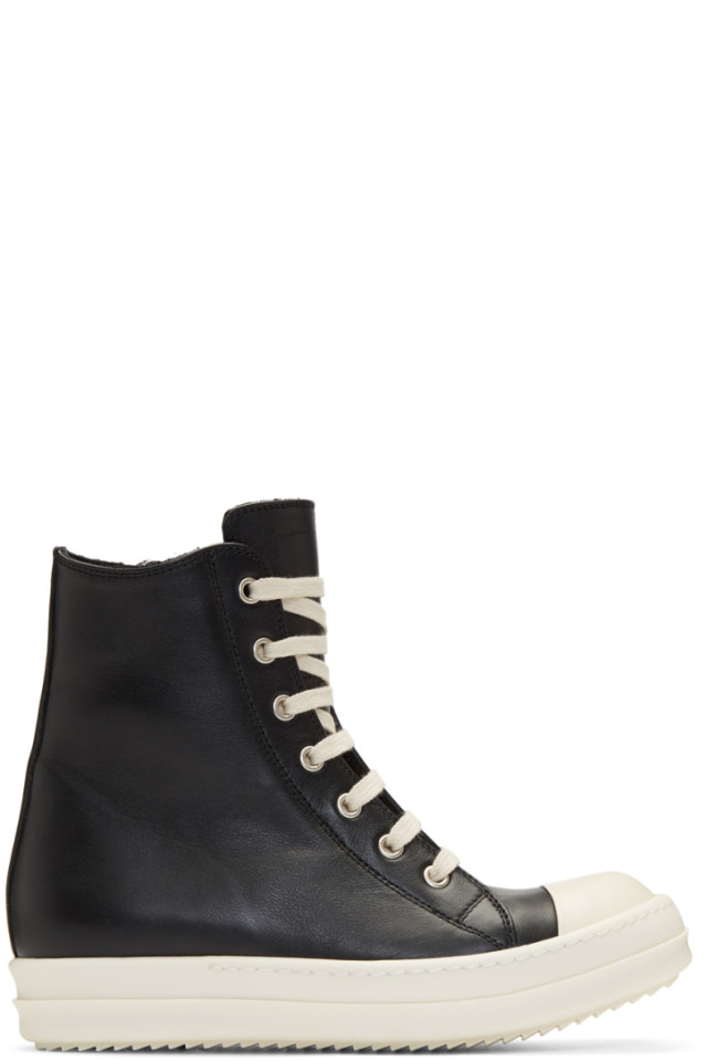 the latest 64fc9 1e8cd Rick Owens Black   Off-White Leather High-Top Sneakers