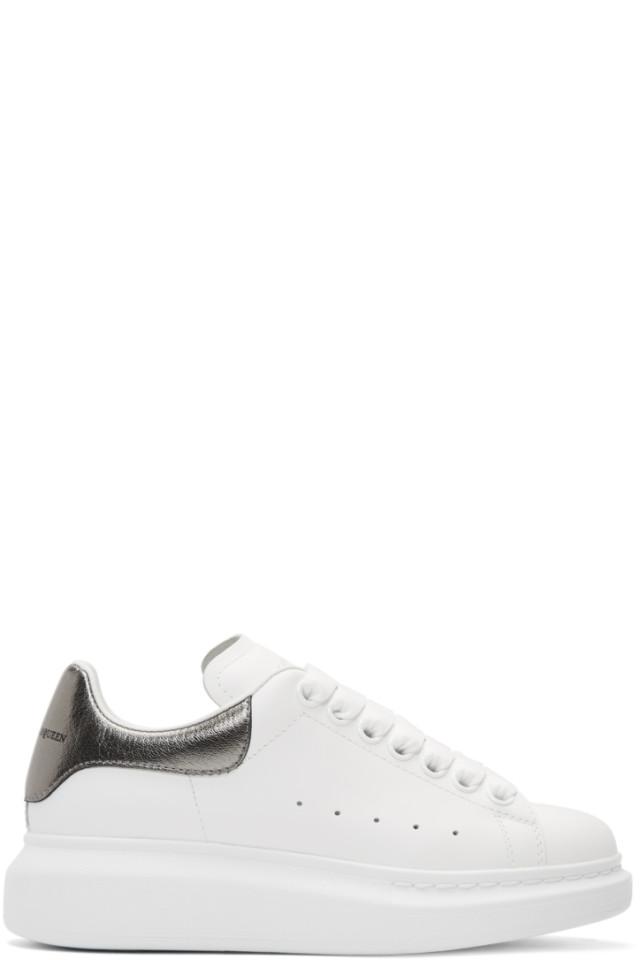 Alexander McQueen White & Grey Metallic Oversized Sneakers