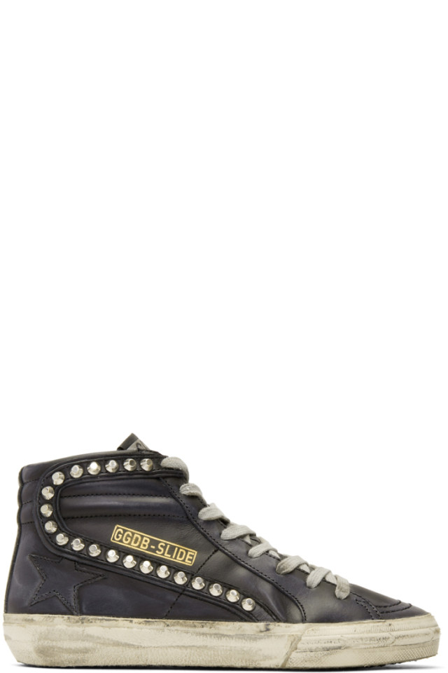 2bbbd4927dce0 Golden Goose Black Leather Studded Slide Sneakers from SSENSE - Styhunt