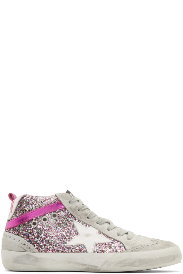 b4657acf02f6 Golden Goose Grey   Pink Glitter Mid Star Sneakers from SSENSE - Styhunt