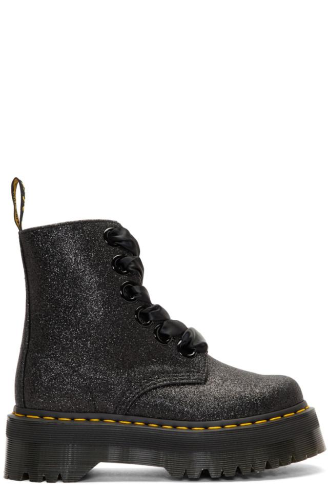 b33b5bc5deba Dr. Martens Black Glitter Molly Platform Boots from SSENSE - Styhunt
