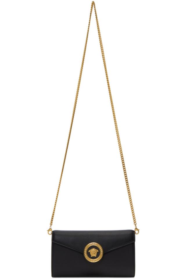 62f93881993 Versace Black Tribute Medusa Wallet Chain Bag