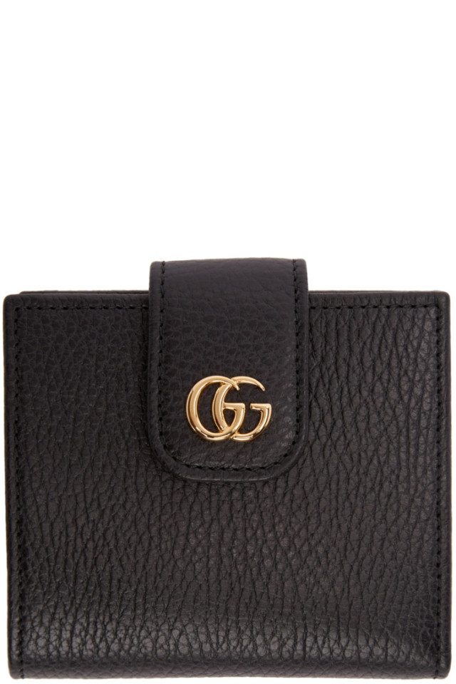 c35897cf035586 Gucci Black Small Marmont Snap Card Case Wallet from SSENSE - Styhunt