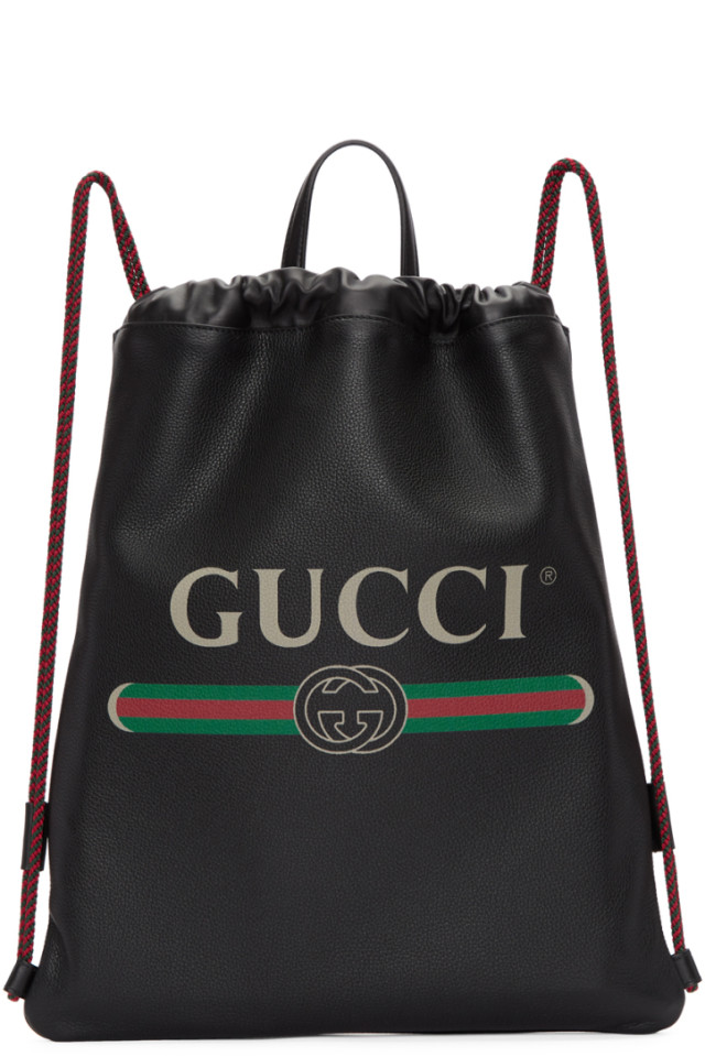 b43d5bb16b2 Gucci Black Small Logo Drawstring Backpack from SSENSE - Styhunt