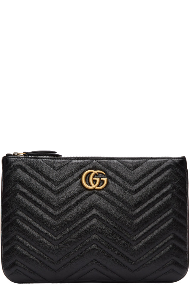 7857b595c Gucci Black GG Marmont 2.0 Pouch from SSENSE - Styhunt