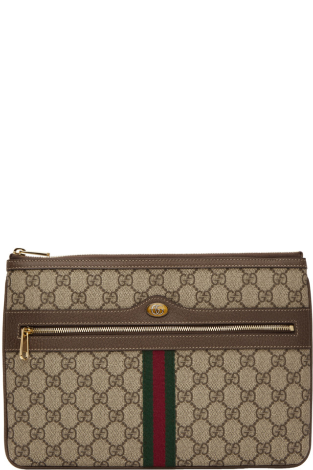 9845b6877df Gucci Brown GG Supreme Ophidia Pouch from SSENSE - Styhunt