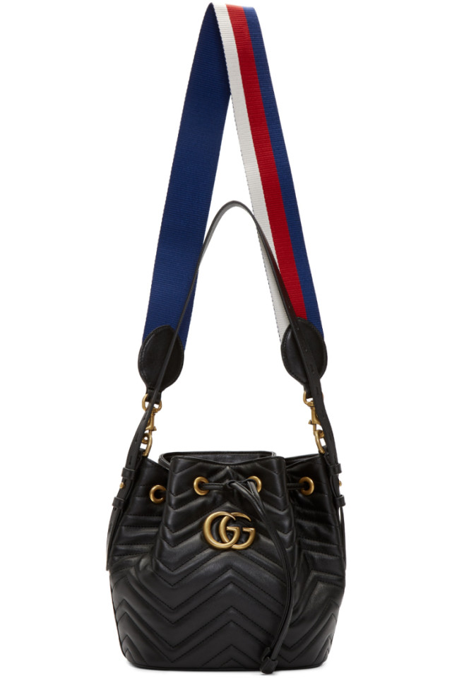 4be51270 Gucci Black GG Marmont 2.0 Bucket Bag from SSENSE - Styhunt
