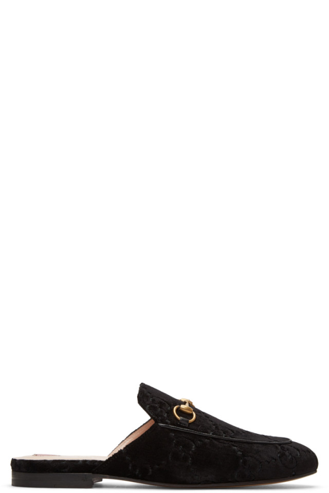 82e5eef1677 Gucci Black Velvet GG Princetown Slippers from SSENSE - Styhunt