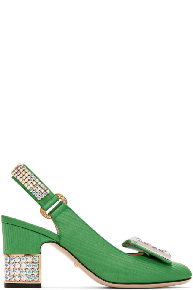 ca10ad5a0b Gucci Green Moire Madelyn Slingback Heels from SSENSE - Styhunt