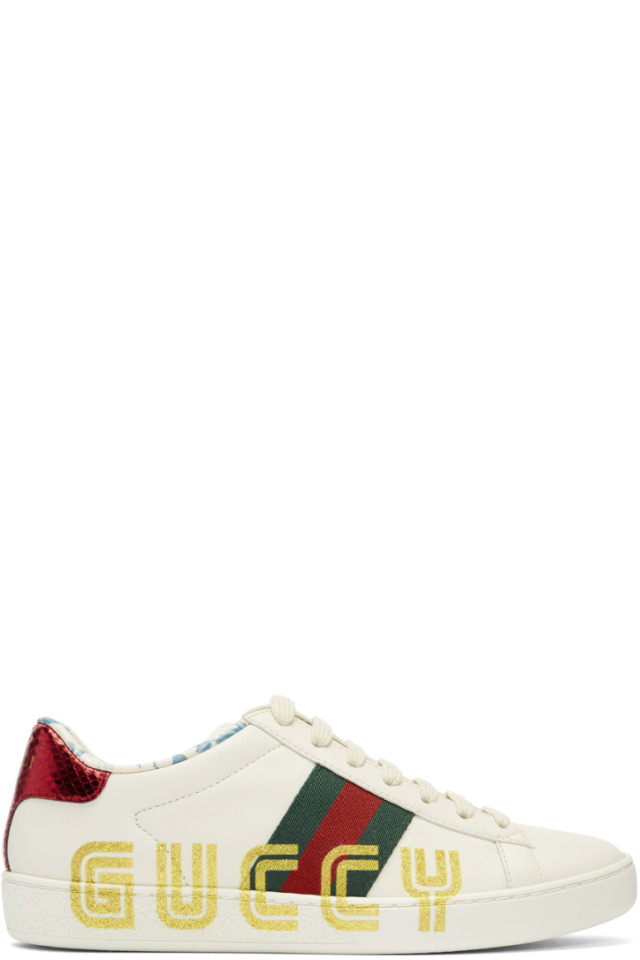 31c597ced65 Gucci White New Ace Guccy Sneakers from SSENSE - Styhunt