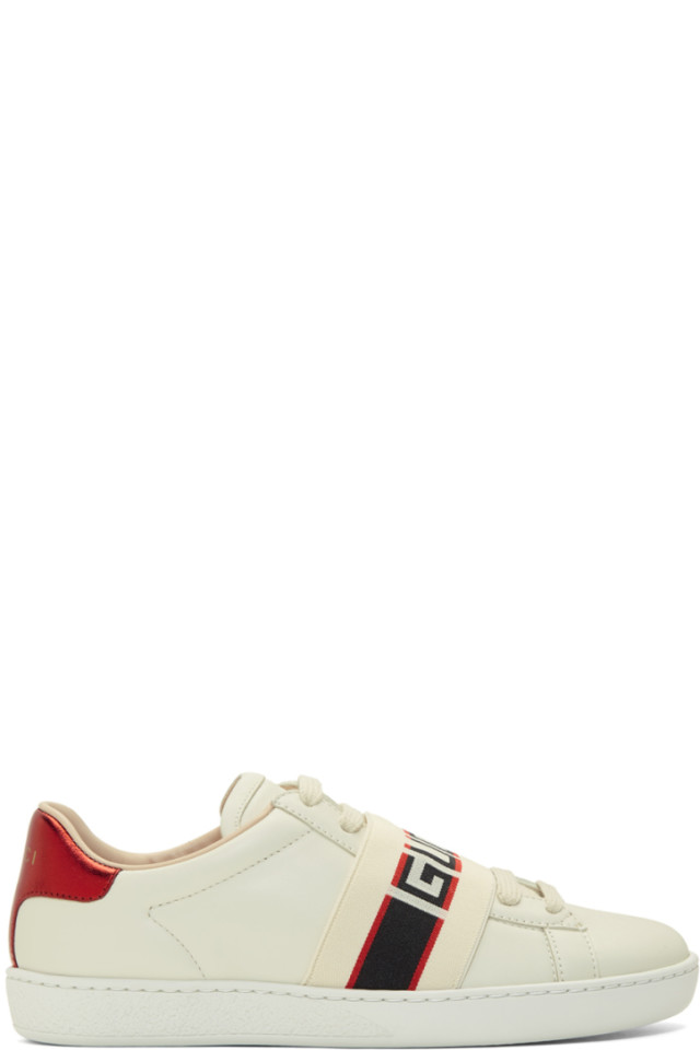 824e8194f7e Gucci White Elastic Band New Ace Sneakers from SSENSE - Styhunt