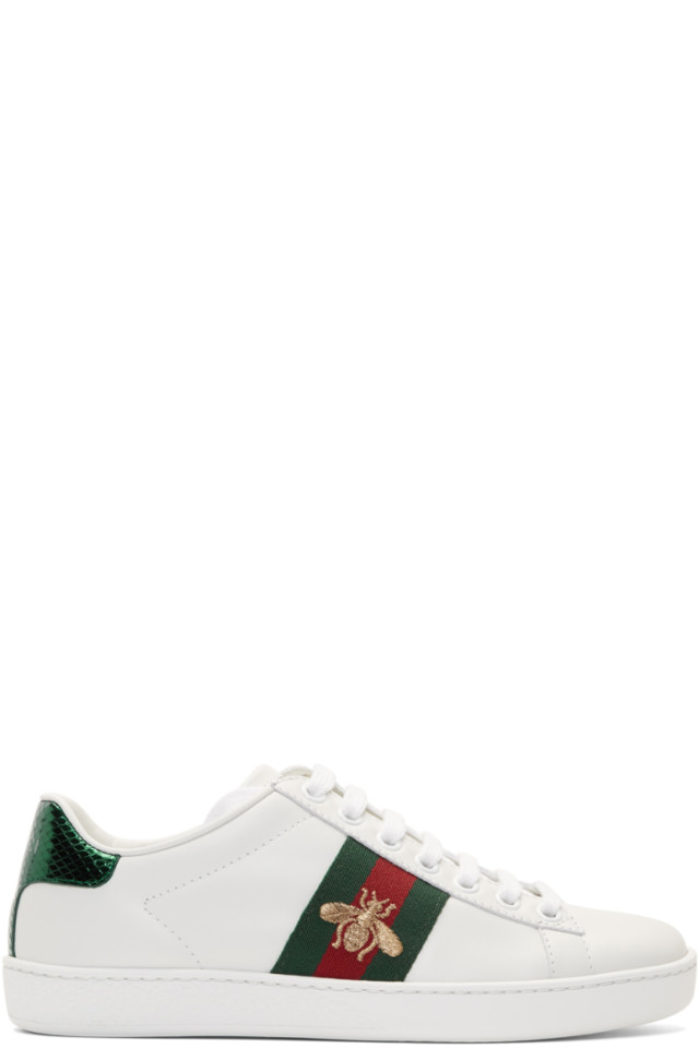 a317662cfe9 Gucci White Bee New Ace Sneakers from SSENSE - Styhunt