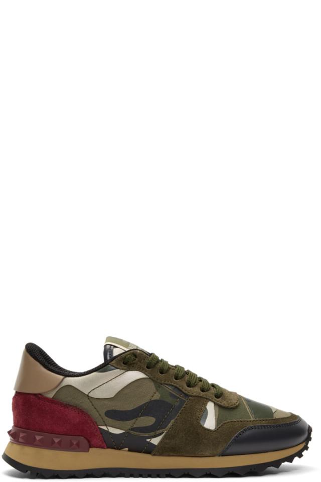 4c6168f86a8f36 Valentino Green Valentino Garavani Camo Rockstud Runner Sneakers ...