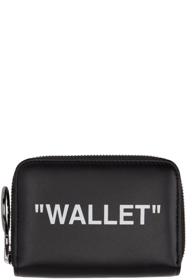 14aa70a734fe Off-White Black Quote Zip Wallet from SSENSE - Styhunt