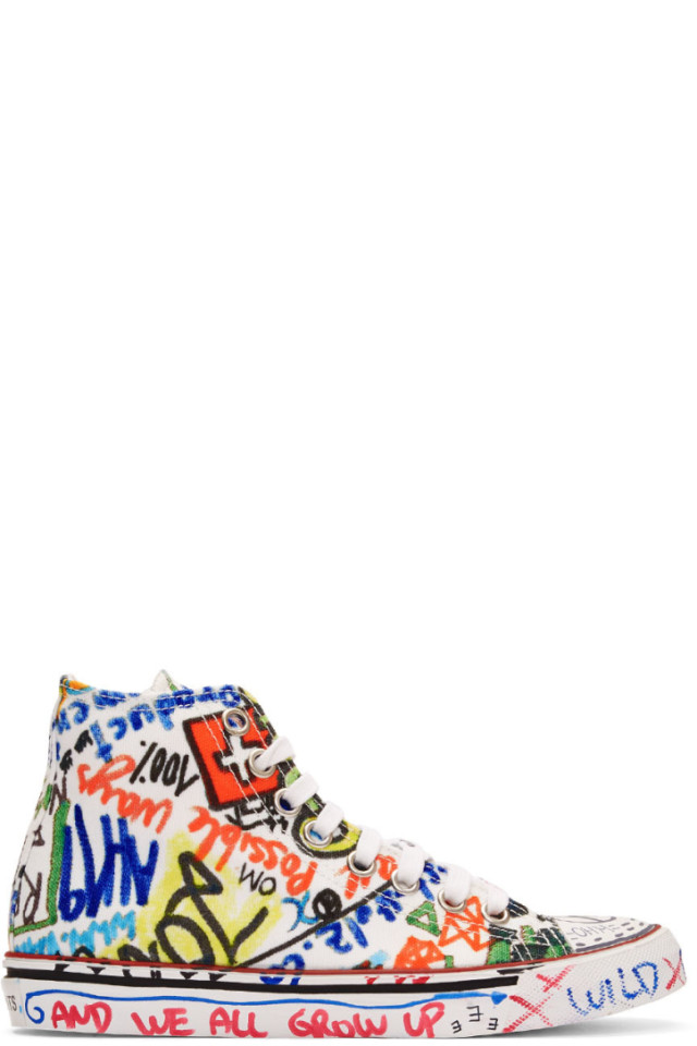 0a179115b3ff Vetements White Graffiti High-Top Sneakers from SSENSE - Styhunt